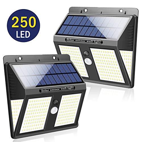 SYOSIN Luz Solar Exterior, 250 LED Sensor Movimiento Lámpara Solar IPX65 Impermeable con Gran Ángulo 270°Luz Nocturna de Energía Solar para Jardín, Parque, Camino, Garaje, Exterior/Interior
