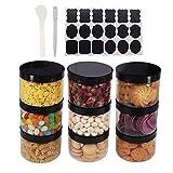 8 Pack 8 OZ Round Clear Plastic Jars With Black Lids, A Spatula, A Pen & Labels - BPA Free PET...