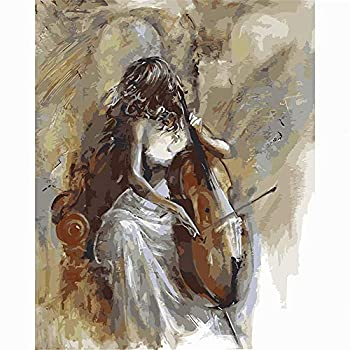 Paint by Number set 16 X 20 Inch Canvas Diy Oil Painting for Kids Students Adult Beginners with Brushes and Acrylic Paint -The Woman Who Plays The Cello