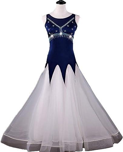 Robe de Danse Moderne sans Manches pour Femmes Salle de Bal Costume Robes Compétition Jupe Strass Tango Valse