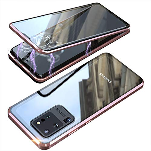 Galaxy S20 Plus 5G Double Sided Tempered Glass Magnetic Case 360° Full Body [Magnetic Adsorption] Aluminium Alloy Metal Bumper Protection Clear Cover for S20+ 6.7 inch 2020 (RoseGold, Galaxy S20 Plus)