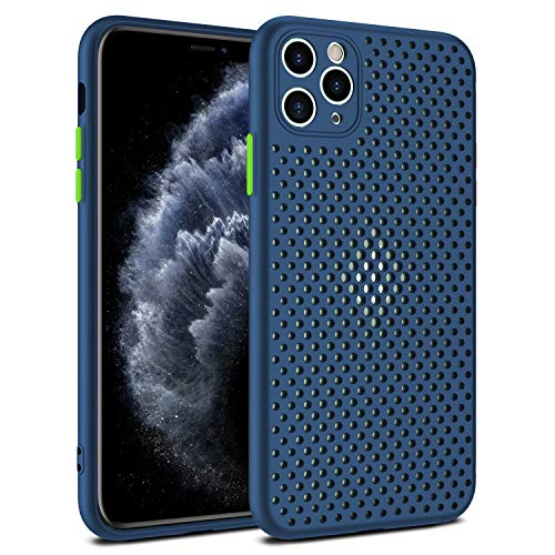 Heat Dissipation Phone Case, New Breathable Hollow Cellular Hole Heat Dissipation Case Full Back Camera Lens Protection Ultra Slim TPU Case Cover (Blue,iPhone 11 Pro Max)
