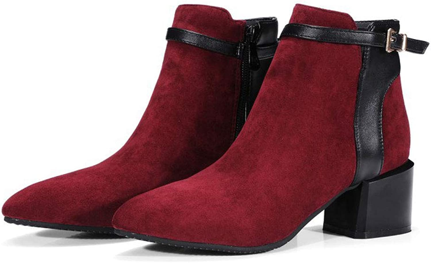 High-Heeled Short Boots, Thick with Pointed Ankle Boots Side Zipper Belt Buckle Martin Boots Waterproof Platform Low Boots Non-Slip Women's Comfortable Knight shoes