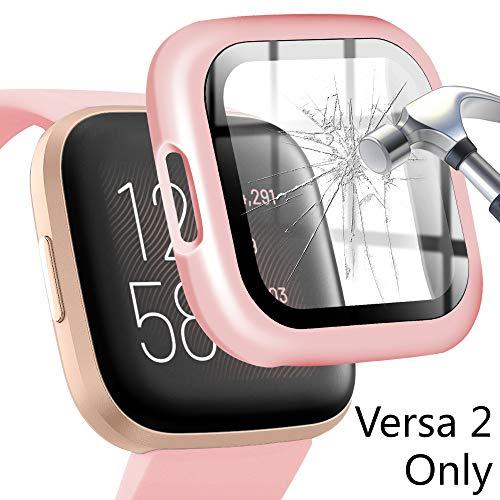 Falandi Displayschutzfolie für Fitbit Versa 2, schwarz, PC hart, dünn, Versa 2, Schutzhülle mit HD-Displayschutzfolie aus gehärtetem Glas