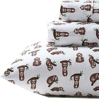Confetti Smiling Jungle Sloth Hanging from Tree Branches Sheet Set (Queen)