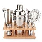 N / A Gadgets de Cocina Herramientas de Acero Inoxidable Cocktail Shaker Set con Montaje de Madera (Capacidad: 550 ml)