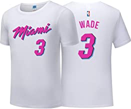 Camiseta para Hombre City Edition Wade # 3 Baloncesto Desgaste Top NBA Jerseys Miami Heat Fan T-Shirt White-L