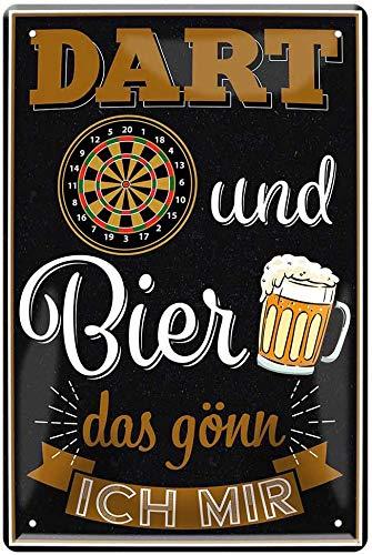 """schilderkreis24 – Blechschild Lustiger Spruch """"Dart und Bier das gönn ich Mir!"""" Deko Garage Metallschild Theke Bar Pub Vintage Retro Geschenkidee Geburtstag Weihnachten Dartspieler 20x30 cm"""