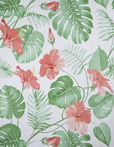Dekorfolie Selbstklebend Folie Grün Klebefolie Blumen Muster für Möbel Wanddekoration Kinderzimmer DIY Aufkleber PVC Rote Blume 45X200cm