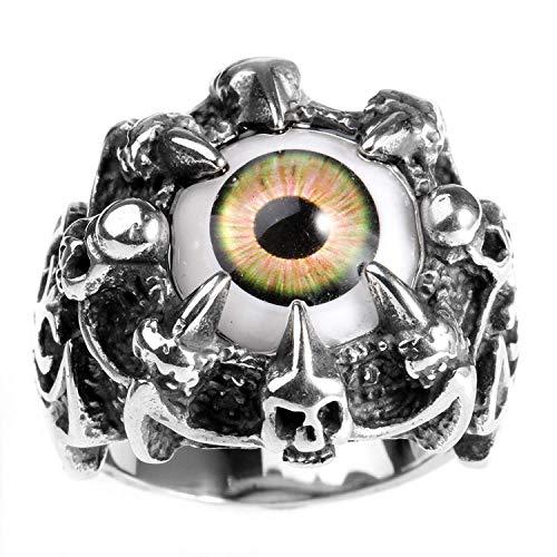 taPfPmFD Anillo joyería cráneo de Acero Inoxidable de la Garra del dragón del Ojo Malvado gótico del Motorista de los Hombres