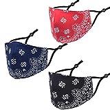 Face Cover Bandana, Soft Cotton Fabric Mask Half Face Protective, Fashion Unisex Paisley Balaclava (Black Red Navy)