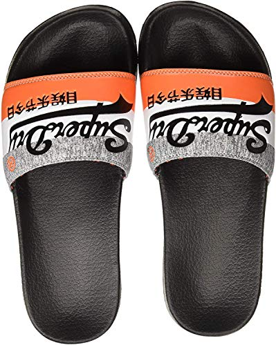 Superdry Vintage Logo Pool Slide Flip Flops - Black/Orange/Grey Grit-Medium