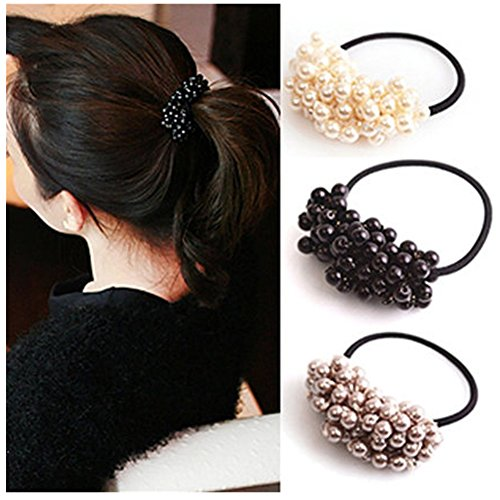 Lovef 2016 Girl Women Pearl Hair Accessories Elastic Ties Hair Rope Fashion Hair Headband Ponytail Holders Hair Tie,3Pcs