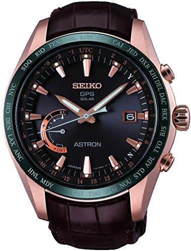 Seiko Herren Analog Solar Uhr mit Leder Armband SSE096J1