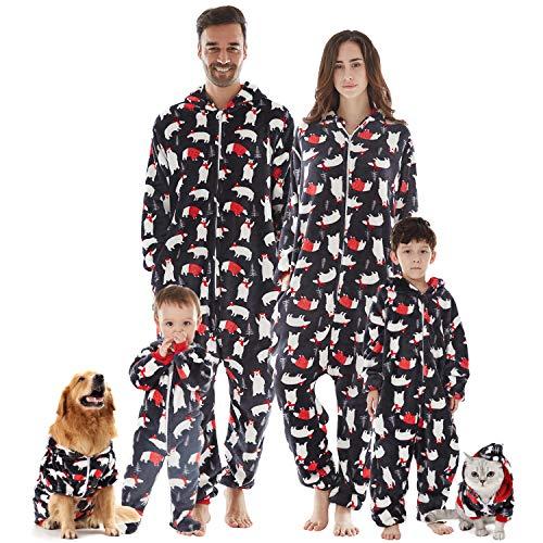 Jumpsuit Halloween Kostüm Anzug Baby Mädchen Junge Schlafanzug Lang Pajama Onepiece Tier Anzug Einteiler Fleece Overall Winter Weihnachten Familie Set,Grau,Baby: 0-6 Monate
