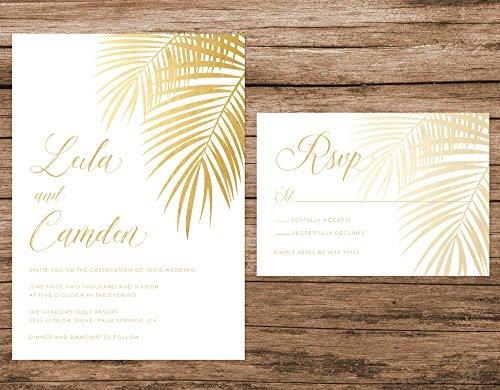 Tropical Wedding Invitation, Gold Palm Leaves Wedding Invitation, Gold Wedding Invitation, Destination Beach Wedding
