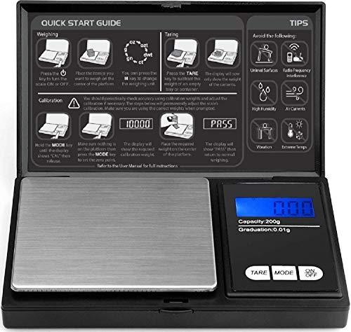 Digital Pocket Scale - 200g x 0.01g by ROYALTEC - Black...