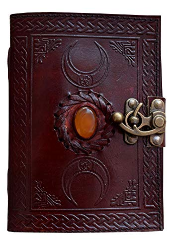 Handmade Wiccan Supplies Celtic Triple Moon Book of Shadows Journal Blank Spell Witch Vintage Leather grimoire Journal with Third Eye Stone Unlined Writing Notebook Diary 7x5 inch