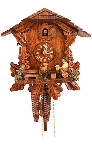 Alexander Taron Importer 434 Engstler Weight-Driven Cuckoo Clock-Full Size-10.5 H x 9.75 W x 6.25, Brown