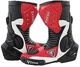Eviron Stivali protettivi per motocicletta, rosso e bianco, impermeabili, (Black Red & White), 40