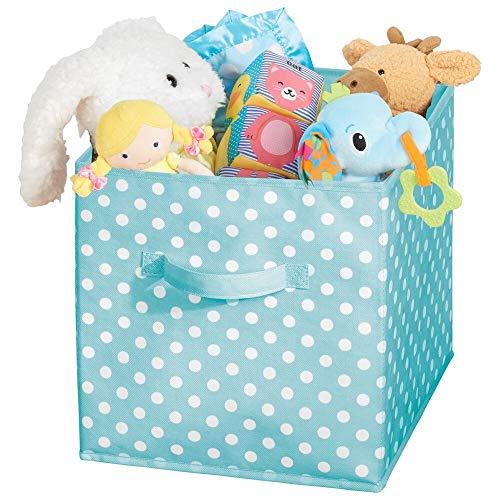 mDesign Caja organizadora cuadrada para dormitorio o habitación infantil – Caja de tela con asa para ordenar armarios – Caja plegable para guardar juguetes – turquesa/blanco