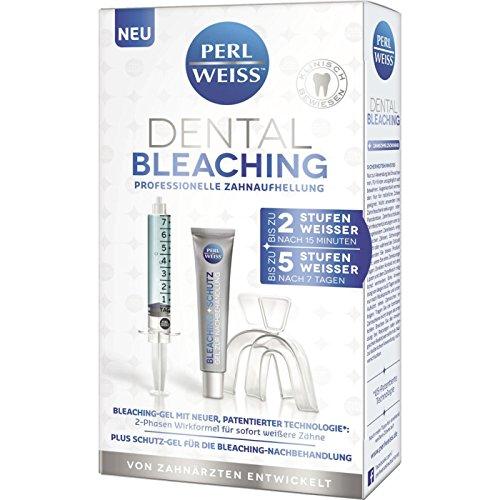 Perl Weiss Dental Bleaching professionelle Zahnaufhellung 1 Set bis zu 2 Stufen weißer nach 15 Min., Bleaching-Gel mit neuer, patentierter Technologie*, 2-Phasen Wirkformel für sofort weißere Zähne, +