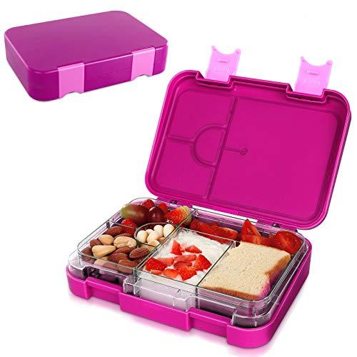 Brotdose Kinder Lunchbox Bento Box 6 fächern für Kinder & Erwachsene BPA-Frei Schule Kindergarten Lunch Bento Box mit Abnehmbare Trennwand Mikrowelle und Geschirrspler Verwendbar (P)