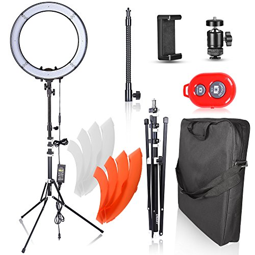 Emart 18 inch LED Ring Light with Stand, 55W Dimmable 240 pcs SMD LED 5500K Circle Makeup Lighting Kit for Photography Camera Photo Studio, YouTube Video Shooting, iPhone Selfie – Standing Ring Light