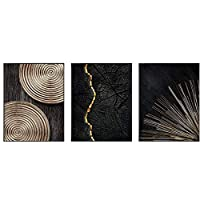 BGGGTD ポスター 抽象レトロブラックゴールドウッドアートポスター、木目調リング、ツリーリングラジアルライン北欧キャンバス写真家の装飾絵画リビングルーム-50x70cmx3フレームなし
