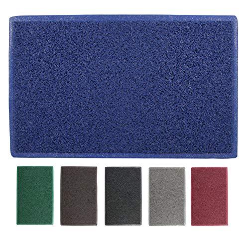 LucaHome - Felpudo Rizo Villena Azul Rectangular con Base Antideslizante Muy Absorbente, Felpudo 45x75cm Rizos PVC, Felpudo para Exterior e Interior 🔥
