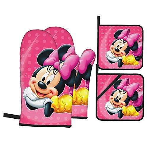 TIGGA Schöne Minnie Mickey Mouse Ofenhandschuhe und Topflappen Sets Isolierung Ofenhandschuh-Set doppelseitiger wasserdichter Stoff kann für Küche Kochen Backen Grillen verwendet werden