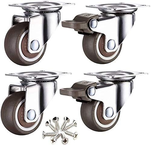 4 Piezas de Muebles, Ruedas universales, Ruedas Planas, Tranquilidad y Resistente al Desgaste, usadas for estanterías y Muebles Tornos de Mesa (Size : 2in)