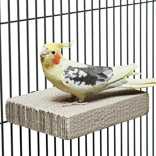 HappyBird ® | Sitzbrett aus Wellpappe zum schreddern | Papp Sitzplatz für Wellensittiche & Co. | Spaß für alle Vögel auch Papageien | ca. 20 x 15 x 4cm
