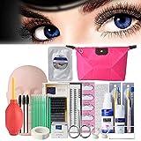 19pcs Eyelash Extension Kits,Professional Mannequin Head Training Eyelashes Extensions Practice Cosmetology Esthetician Supplies with Eye Lash Kit Lashes Glue Tweezers Tools sets (19pcs, A)