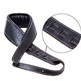 ギターストラップ ベースストラップ Guitar Strap,Soft Leather Guitar Strap&Bass Strap 幅9cm 長さ調整103-153cm 2つのギターピックを含みます(黒い)
