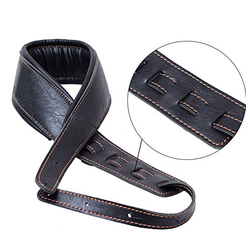 Guitar Strap,Soft Leather Guitar Strap&Bass Strap with 3.5' Wide Adjustable Length from 40' to 60' Packed with 2 Picks(Black)