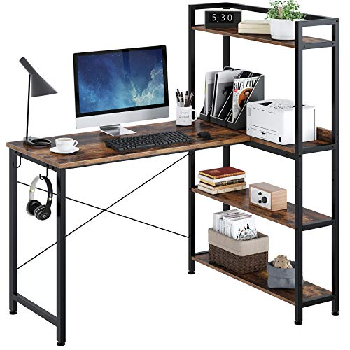Rolanstar Computer Desk L Shaped 47', Corner Desk with Shelves, Home Office Desk with 4-Tier Storage Bookshelf, Study Writing Table, Workstation, Stable Metal Frame, Rustic Brown
