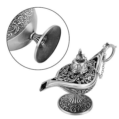 Denkerm Lámpara de Deseos, lámpara mágica de Aladino, lámpara de Genio, Estilo Retro, Estilo Antiguo para Almacenamiento de Joyas para decoración del hogar(Ancient Tin)