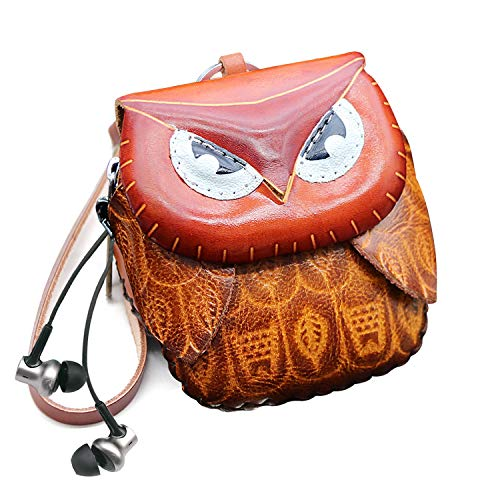 Women Girl Christmas Owl Leather Wristlet Clutch Coin and Key Purse Pouches Change Holder with Zipper Keychain Clousure