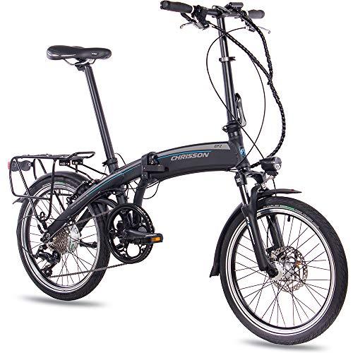 CHRISSON 20 Zoll E-Bike Klapprad EF2 schwarz matt - E-Faltrad mit Bafang Nabenmotor 250W, 36V, 30 Nm, Pedelec Faltrad für Damen und Herren, praktisches Elektro Klapprad