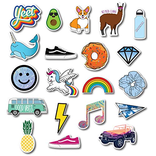 Trendy Stickers, VSCO Sticker, Aesthetic Stickers - Quality, Waterproof for Laptop, Hydro Flask, Yeti, Car, iPhone, Water Bottle, Phone Case - 20 Pack of Large Cute Adventure Stickers