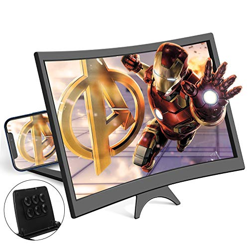 12''Screen Magnifier for Cell Phone Mobile Phone Magnifier Projector Screen for Movies and Videos. Easy to Use and Compatible with All Smartphones (Black)
