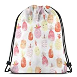 Yuanmeiju Pretty Punchy Pineapples Drawstring Backpack Bag Lightweight Gym Travel Yoga Casual Snackpack Shoulder Bag for Hiking Swimming Beach