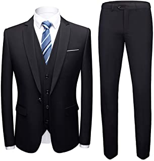 MY'S Men's 3 Piece Slim Fit Suit, One Button Jacket Blazer Vest Pants Set and Tie