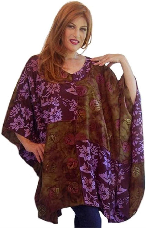 LOTUSTRADERS Bohemian Art Batik Patch Top Poncho Shirt VNeck K707A
