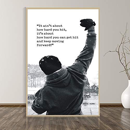 BailongXiao Inspirierende Plakat-Schwarzweiss-Wandkunst-Leinwandmalerei-Raumdekoration des Gewichthebens des Boxens,Rahmenlose MalereiCJX454-50X70cm