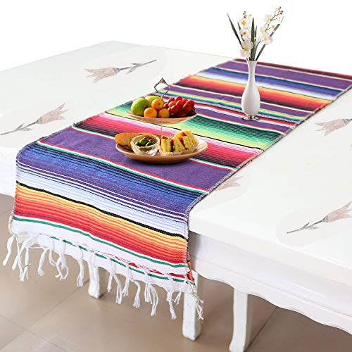 Auranso Mexican Table Runner 14 x 84 inch Cotton Striped Weave Dining Table...