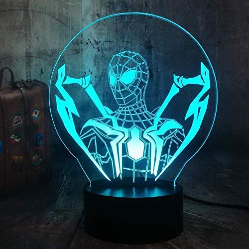 Luz de noche 3D Cool Avengers Spider Heroes Fan Gift 3D LED Night Light Boy Niños Juguete Regalo de cumpleaños de Navidad Lámpara de mesa Decoración de dormitorio