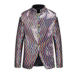 Stand Collar Double-Sided Sequins Changing Colors Blazer XL