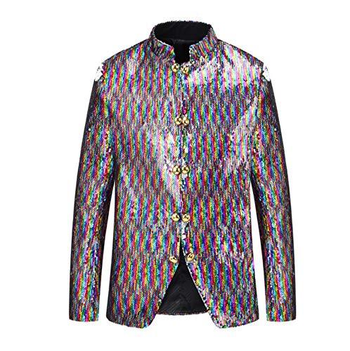 XFXFXZXZ mannen Dubbele Borst Gekleurde Stand kraag dubbelzijdige pailletten veranderen kleuren Blazer kleding DJ Singer pak jas